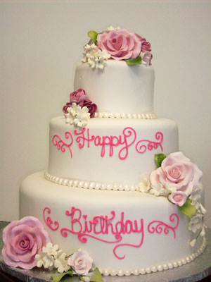 Beautiful Birthday Cakes on Beautiful White Birthday Cake With Pink Flowers By Johnson   S Custom