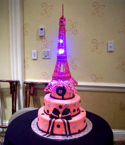 Eiffel Tower Cake Pictures on Paris Themed Pink Eiffel Tower Birthday Cake