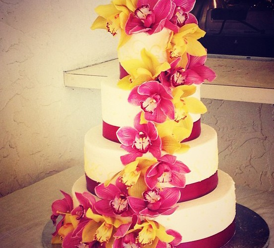 Pink and Yellow Orchid Cake