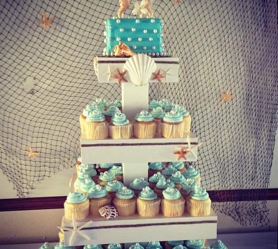Sea Themed Wedding Cake and Cupcakes