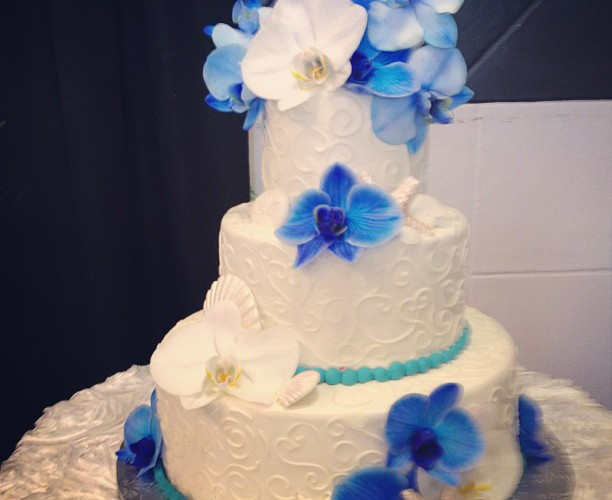 Blue and White Orchid Cake