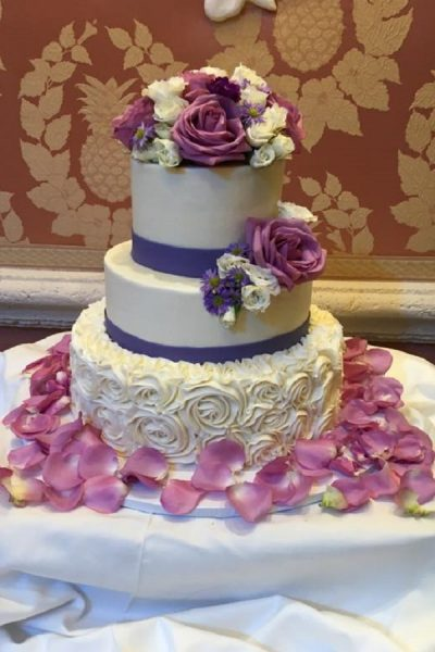Purple and White Buttercream Wedding Cake