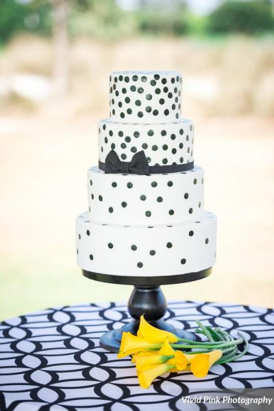 White and Black Polka Dot Wedding Cake