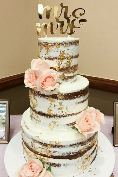 Gold leafed Naked Cake