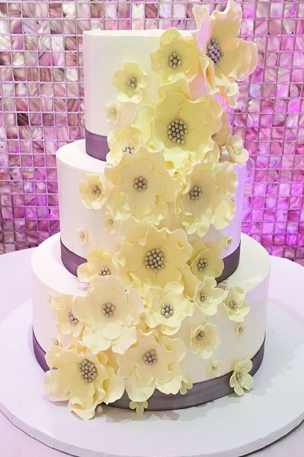 Violet and Cream Wedding Cake