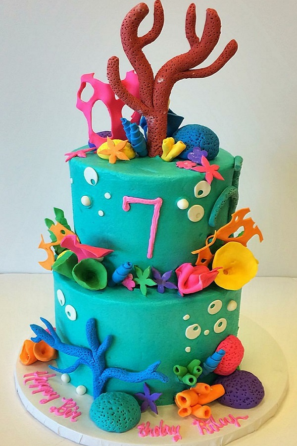 Ocean Themed Fondant Birthday Cake Johnsons Custom Cakes