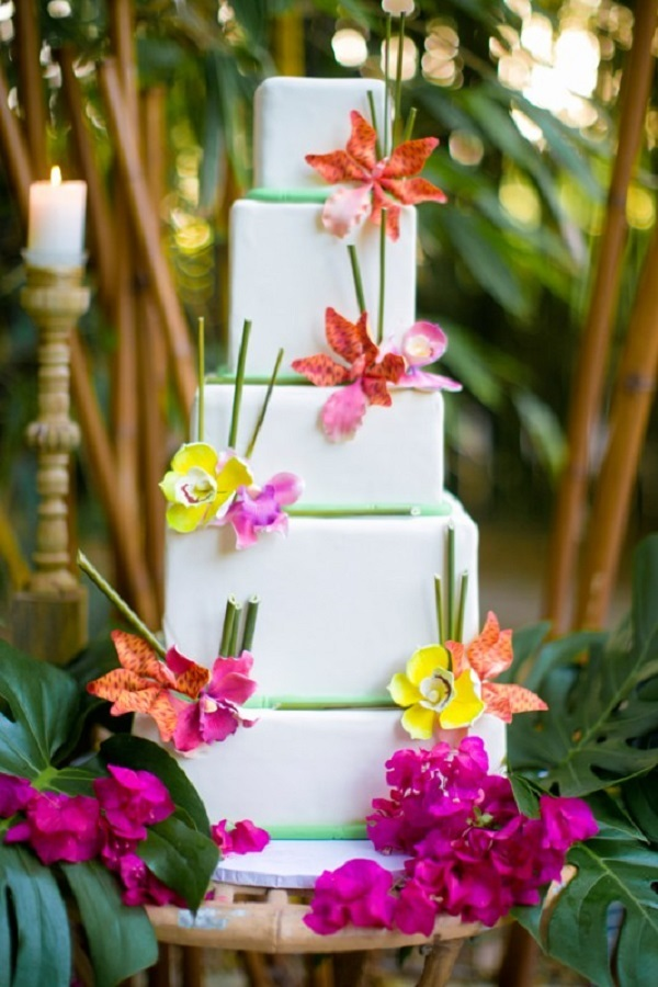 Tropical Bamboo Wedding Cake