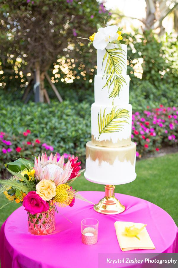 tropical themed wedding cake