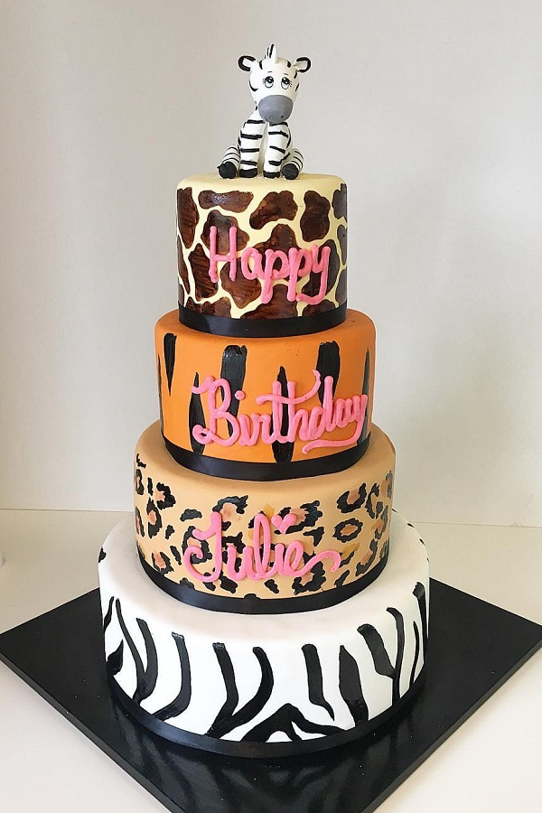 Animal Print Birthday Cake Johnsons Custom Cakes