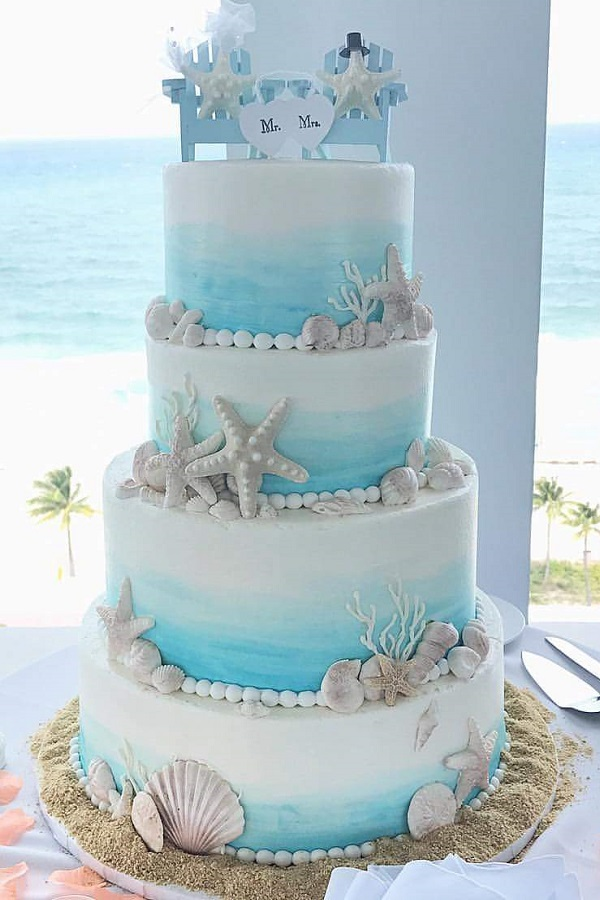 Beach themed wedding cake johnsons custom cakes beach themed wedding cake junglespirit Image collections