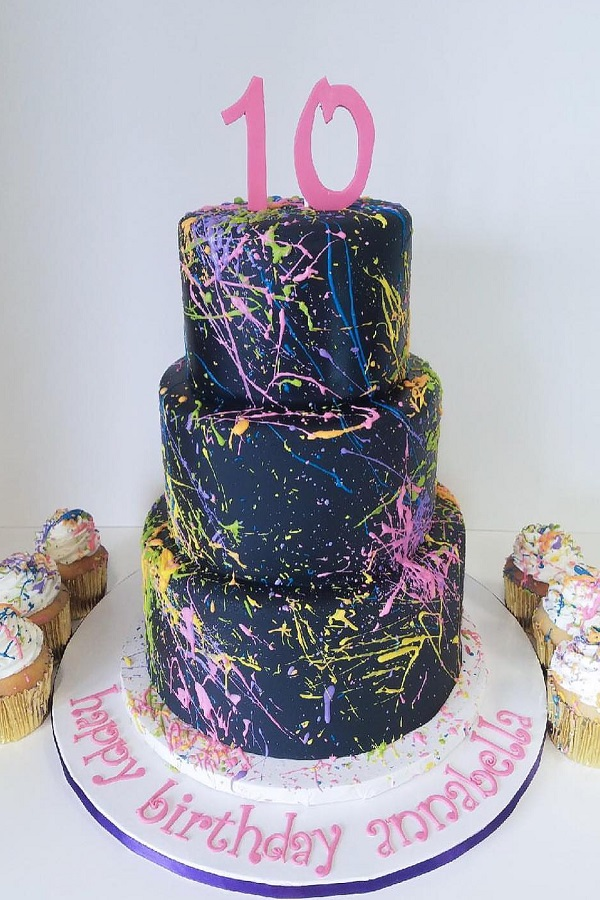 paint splash cake