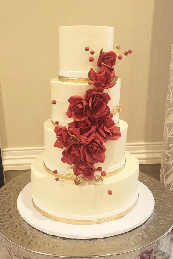 wedding cake with fresh red roses wedding cake johnson s custom cakes 26895