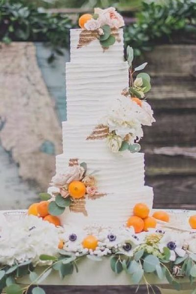 white buttercream tall cake