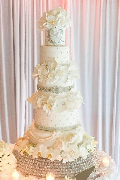 white fondant and bling wedding cake