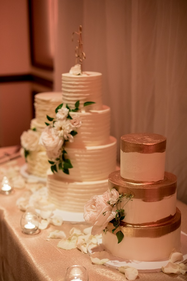 3 Gold and Cream Buttercream Wedding Cakes