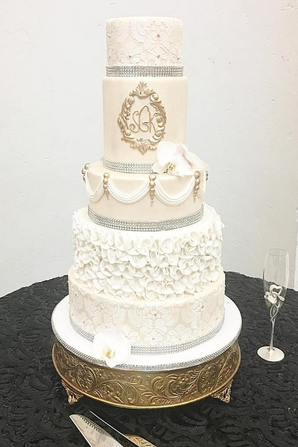 white fondant wedding cake
